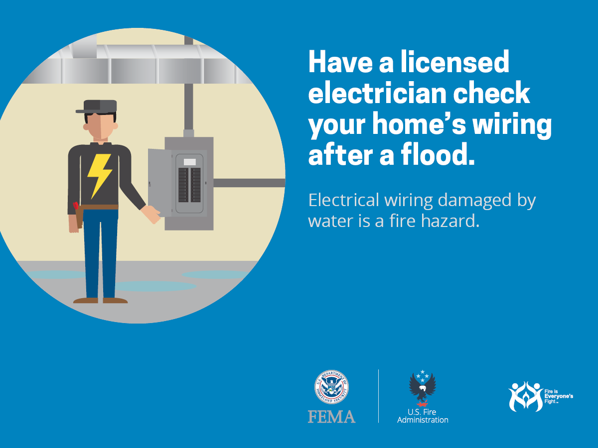Have a licensed electrician check home wiring after a flood