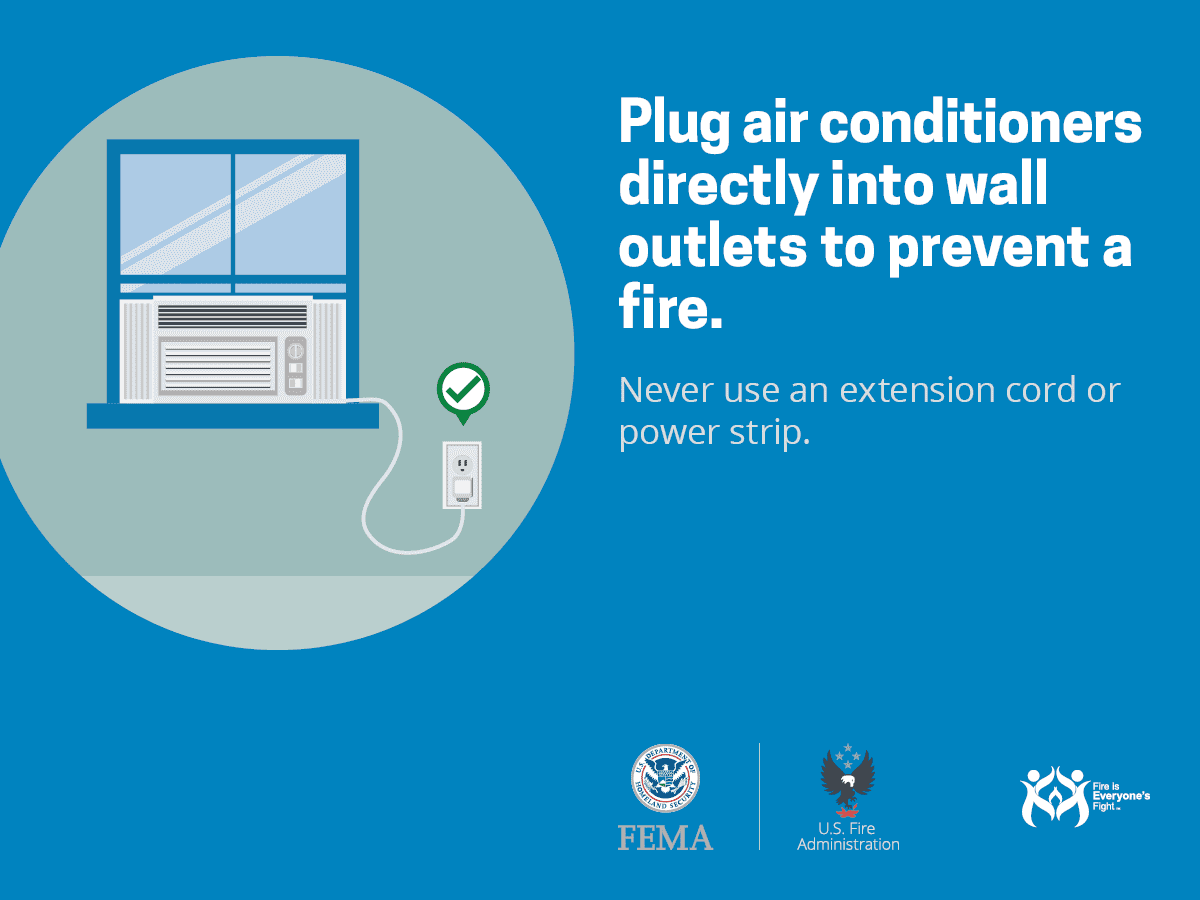 Plug Air Conditioners directly into wall outlets to prevent a fire