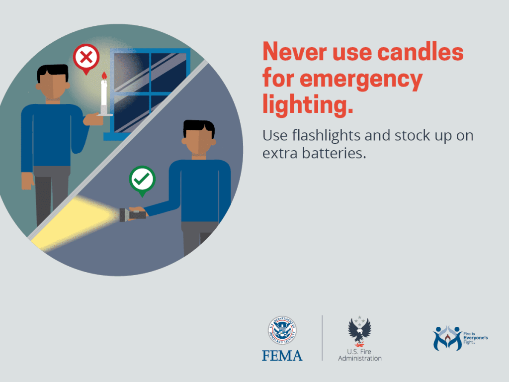 never use candles for emergency lighting