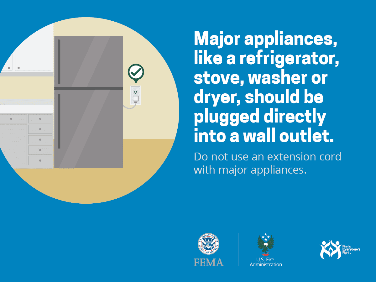 Major appliances should be plugged directly into a wall outlet